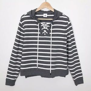 Cabi Windward Hoodie Gray Rugby Striped Top Small